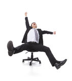 Successful excited Business man sitting in chair Stock Images