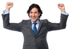 Successful excited male entrepreneur Stock Image