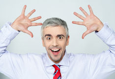 Successful excited male executive. Excited entrepreneur, wide open palm gesture Royalty Free Stock Image