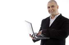 Successful executive busy with laptop Royalty Free Stock Photography