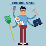 Successful Father. Super Dad. Super Man. Multitasking Man Royalty Free Stock Photo