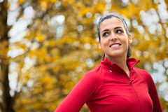 Successful female athlete autumn portrait Stock Photos