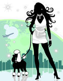 Successful Female in City Walking Poodle Royalty Free Stock Images
