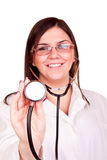 Successful female doctor holding stethoscope Stock Image