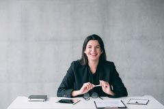 Successful female leader happy business woman stock photo