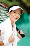 Successful female tennis player Stock Photo