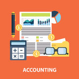 Successful financial business plan report and accounting concept vector illustration.  Royalty Free Stock Photography