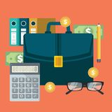 Successful financial business plan report and accounting. Flat vector illustration Royalty Free Stock Photography