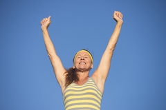 Successful fit healthy mature woman arms up Royalty Free Stock Photo