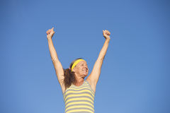 Successful fit healthy senior woman arms up Stock Photos
