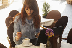 Successful freelancer working outdoors. Freedom and making money Stock Photo