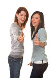 Successful friends. Successful women against a white background stock photos