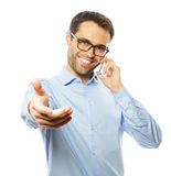 Successful gesturing business man with mobile Stock Photo