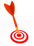 Successful at getting objective. A dart getting its target successfully on white space, success and mission accomplishment concept Royalty Free Stock Photo