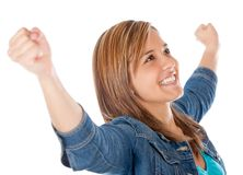 Successful girl with arms up Stock Photos