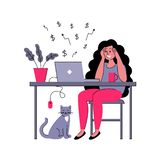 Successful girl freelancer works at home. Vector illustration in flat style vector illustration