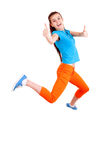 Successful girl jumping for joy Stock Photo