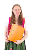 Successful girl with some important documents Stock Photo