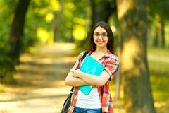 Successful girl student with books in the Park Stock Photography
