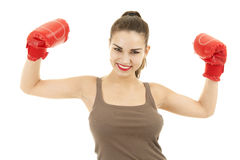 Successful girl wearing boxing gloves Stock Photography