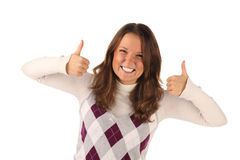 Successful girl on white background Stock Photo