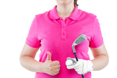 successful golfer showing hand gesture close up on a white Stock Image