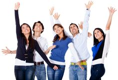 Successful group with arms up Royalty Free Stock Photos
