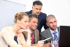 Successful group of business colleagues working on Stock Images