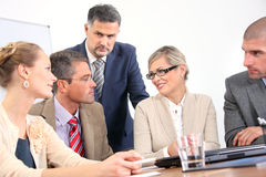 Successful group of business colleagues working Stock Photo