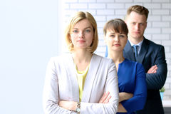 Successful group of business people at the office stock photography