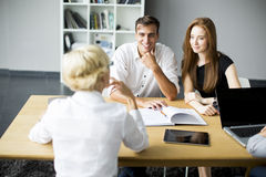 Successful group of business people working on plans Stock Photo