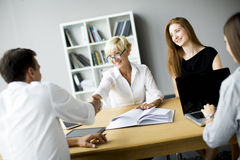 Successful group of business people working on plans Royalty Free Stock Images