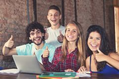 Successful group of european students stock image