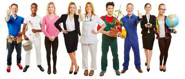 Successful group of many occupations. Holds thumbs up for employment agency Royalty Free Stock Image