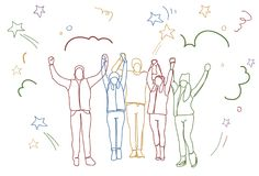 Successful Group Of People Holding Raised Hands Happy Business Team Colorful Doodle Silhouettes Royalty Free Stock Photography