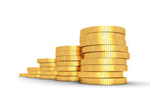 Successful growing golden coins bar chart on white background. Business finance profit concepr 3d render Royalty Free Stock Photo