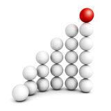Successful growth bar sphere graph diagram. 3d render illustration Stock Images