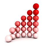 Successful growth bar sphere graph diagram. 3d render illustration Stock Photography