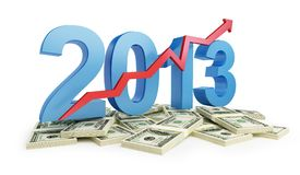 Successful growth business in 2013. Successful growth of profits in the business in 2013 stock illustration