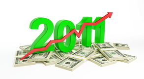 The successful growth of profits in the business. In 2011 vector illustration