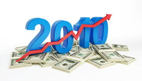 The successful growth of profits in the business. In 2010 vector illustration