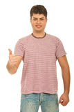 Successful guy in blank stripes t-shirt Royalty Free Stock Photography