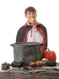 Successful Halloween Apple Bobbing Game. A kid enjoying an apple at a Halloween party over an apple bobbing bucket Stock Photography