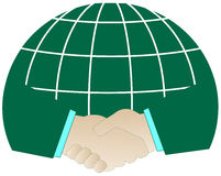 Successful handshake and planet Royalty Free Stock Photo
