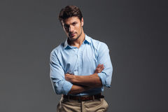 Successful Handsome Man With Arms Folded Standing Royalty Free Stock Images
