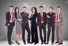 Successful happy business team. Formed by business men and women, isolated on white Royalty Free Stock Photos