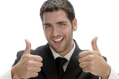 Successful happy businessman with cheer up. Isolated on white background Royalty Free Stock Photo