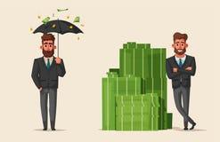Successful, happy businessmen in a suit. Cartoon vector illustration stock illustration