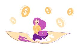 Successful Happy Businesswoman Flying on Money Carpet Working on Laptop with Dollar Coins around