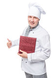 Successful happy chef holding a menu on a white. Background royalty free stock photos